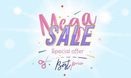 Mega Sale Banner with font combination on the colour background with blur and light effects. Flat vector illustration. EPS 10 Stock Images