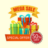 Mega sale banner with gift boxes Stock Images