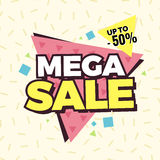 Mega sale banner, Retro edition. Royalty Free Stock Photography