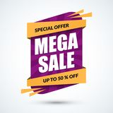 Mega sale banner. Special offer concept. Discount. Template. Vector illustration Royalty Free Stock Photos