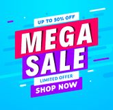 Mega Sale banner template design. Big sale special offer promotion discount for business Vector Illustration