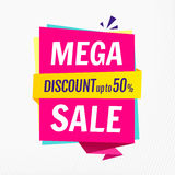 Mega sale, banner template. Discount up to 50. Vector illustration. EPS 10 Stock Illustration