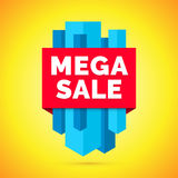Mega sale banner, Yellow background Stock Images