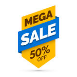 Mega sale banner, Yellow and blue colors Stock Photography
