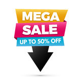Mega sale banner, Yellow, blue and pink colors. Stock Image