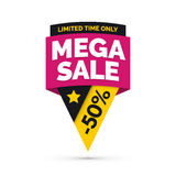 Mega sale banner, Yellow and pink colors Stock Photography