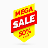 Mega sale banner, Yellow and red colors Royalty Free Stock Photo