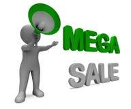 Mega Sale Character Shows Reductions Savings Save Or Discounts. Mega Sale Character Showing Reductions Savings Save Or Discounts stock illustration