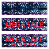 Mega sale chevron flower bright banner RGB Stock Photo