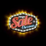 Mega Sale Christmas retro light frame template. Vector illustration Stock Photos