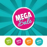 Mega sale color banner and 10%, 20%, 30% & 40% Off Marks. Vector illustration. Mega sale color banner and 10%, 20%, 30% & 40% Off Marks. Eps10 Vector Stock Photos