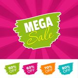 Mega sale color banner and 50%, 60%, 70% & 80% Off Marks. Vector illustration. Mega sale color banner and 50%, 60%, 70% & 80% Off Marks. Eps10 Vector Stock Images