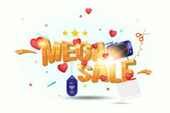 Mega sale of 25 . The concept for big discounts with voluminous text, a retro TV and red hearts on a light background with light e. Ffects. Flat vector Stock Photography