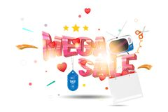 Mega sale of 25 . The concept for big discounts with voluminous text, a retro TV and red hearts on a light background with light e. Ffects. Flat vector Stock Images