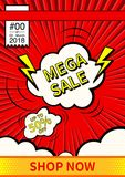 Mega Sale. Final sale poster or flyer design. Sale on colorful background. Vector illustration. Mega Sale. Final sale poster or flyer design. Sale on colorful Stock Photography