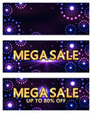 Mega sale flower ray banner RGB Stock Images