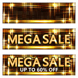 Mega sale gold banner RGB Royalty Free Stock Photos