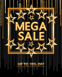 Mega sale gold star around cover Stock Photos