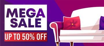 Mega sale home furniture shop vector banner. Mega sale banner or advertising poster for home furniture. Vector 50 percent off discount promo offer of house stock illustration