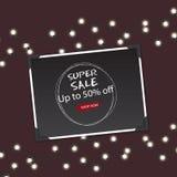 Mega Sale med upp till erbjudande för 50 rabatt, idérik affisch-, baner- eller reklambladdesign Royaltyfri Foto