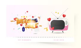 Mega sale of 25 off. The concept for big discounts with voluminous text, a retro TV and red hearts on a light background with ligh. T effects. Flat vector Royalty Free Stock Photo