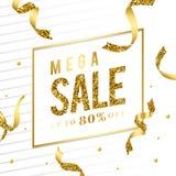 Mega sale 80% off sign vector stock illustration