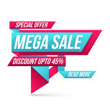 Mega Sale Paper Tag or Banner design. Royalty Free Stock Photos