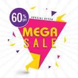 Mega Sale Paper Tag or Banner design. Stock Photography