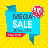 Mega Sale Paper Tag or Banner design. Stock Images