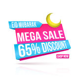 Mega Sale Paper Tag or Banner for Eid. Royalty Free Stock Photography