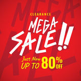 Mega Sale 80 percent heading red design for banner or poster. Sa Stock Photo