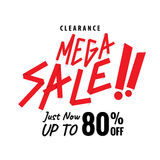 Mega Sale 80 percent heading white design for banner or poster. Mega Sale heading white design for banner or poster. Sale and discounts. Vector illustration Stock Images