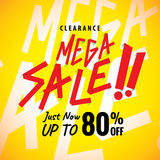 Mega Sale 80 percent heading yellow design for banner or poster. Stock Photo