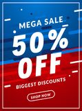 Mega Sale 50 percent off banner template design. Big sale special offer promotion discount for business.  Stock Illustration