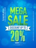 Mega sale poster, banner or flyer design. Royalty Free Stock Image
