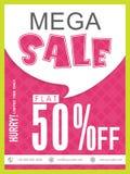 Mega Sale Poster, Banner or Flyer design. Stock Photography