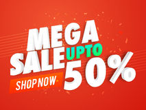 Mega Sale Poster, Banner or Flyer design. Mega Sale with Upto 50% Discount Offer, Creative Poster, Banner or Flyer design, 3D typographical background, Vector Royalty Free Stock Photo