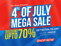 Mega Sale Poster or Banner for 4th of July. 4th of July Mega Sale Poster, Sale Banner, Sale Flyer, Sale Background, Sale Tag, Discount upto 70%, Online Sale Royalty Free Stock Image