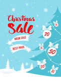 Mega sale poster. Big Christmas sale. Seasonal sale background for banners, advertising, leaflet, cards, invitation and so on Stock Image