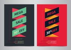 Mega Sale Poster design template. Sale Ribbon, Sale Background, 30% Off. Royalty Free Stock Image