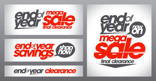 Mega sale posters collection, end of year savings banners set, final clearance Stock Images