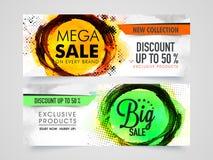 Mega Sale rengöringsduktitelrad eller baneruppsättning Arkivfoton