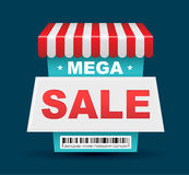 Mega Sale shop banner design with barcode. Stock Photos