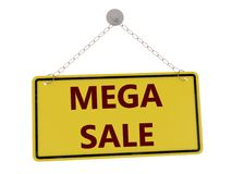 Mega sale sign. With chain isolated on white background ,3d rendered Royalty Free Stock Photos