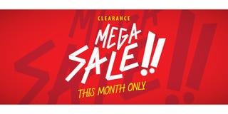 Mega Sale som heading den röda designen för baner eller affisch Sale och diskett Royaltyfria Foton