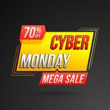 Mega sale template or flyer design with 70% discount offer for C. Yber Monday Sale vector illustration