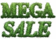 Mega Sale text som göras av gräs Royaltyfri Fotografi