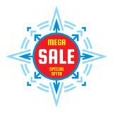 Mega sale - vector concept banner. Special offer creative illustration. Discount promotion abstract geometric banner. Star with arrows sign. Graphic design Stock Photo
