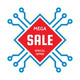 Mega sale - vector concept illustration. Abstract computer chip sign. Discount special offer creative layout. Graphic design. Mega sale - vector concept Stock Image
