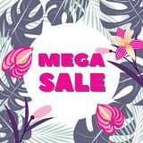 Mega sale. Vector illustration with tropical leaves and flowers. Banner royalty free illustration